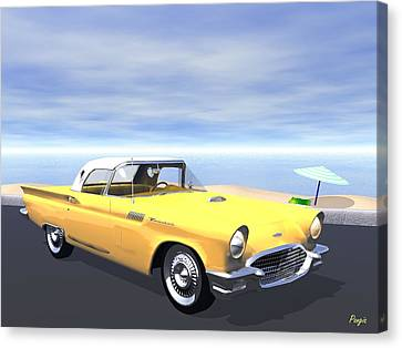Canvas Print featuring the digital art T Bird by John Pangia