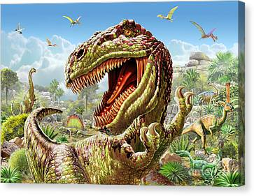 T-rex Canvas Print - T-rex And Dinosaurs by Adrian Chesterman