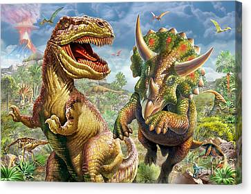T-rex And Triceratops Canvas Print by Adrian Chesterman