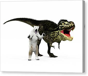 T-rex Dinosaur And Polar Bear Canvas Print by Walter Myers