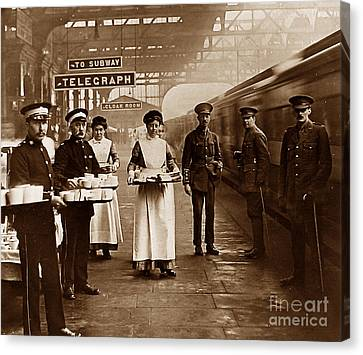The Red Cross And St. John's Ambulance Brigade During Ww1 England Canvas Print by The Keasbury-Gordon Photograph Archive