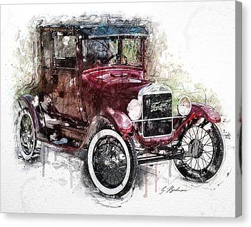 Antique Automobiles Canvas Print - The 1926 Ford Model T by Gary Bodnar