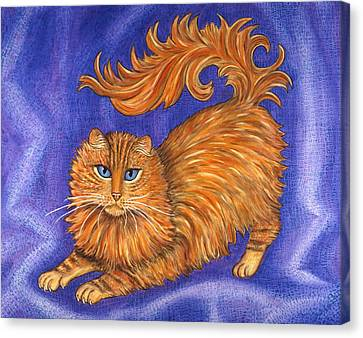 Pets Canvas Print - Tabby Cat Playing by Linda Mears