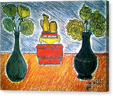 Table And Vases Canvas Print by Neil Stuart Coffey
