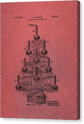 Table Christmas Tree Patent Red Canvas Print by Dan Sproul