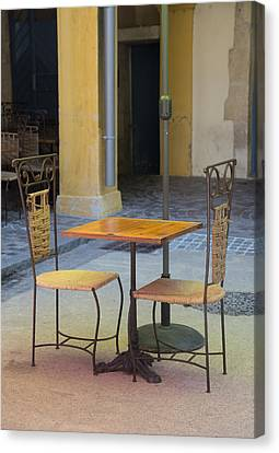 Place Du Forum Canvas Print - Table For Two by Anita Miller