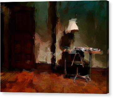 Table Lamp Chair Canvas Print by H James Hoff