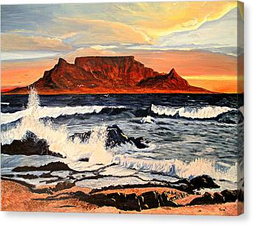 Table Mountain At Sunset Canvas Print by Hilda and Jose Garrancho