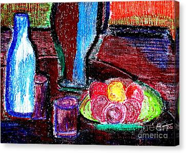 Canvas Print featuring the pastel Table On Rue Cadet by Bill OConnor
