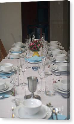 Table Set For A Jewish Festive Meal Canvas Print by Ilan Rosen