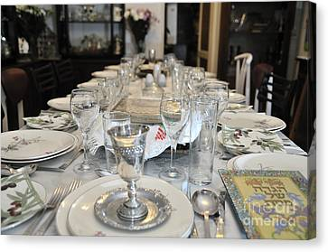Table Set For A Jewish Festive Meal On Passover  Canvas Print by Ilan Rosen