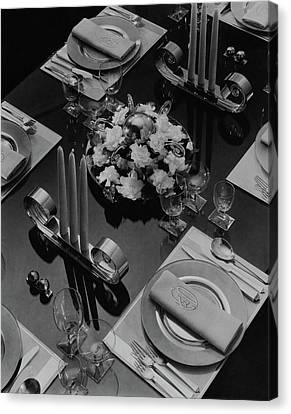 Glass Table Reflection Canvas Print - Table Setting by Eugene Hutchinson