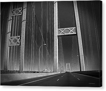 Tacoma Narrows Bridge B W Canvas Print by Connie Fox