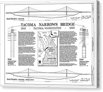Tacoma Narrows Bridge Habs P1 Canvas Print by Photo Researchers