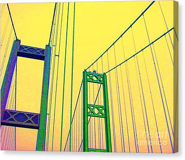 Canvas Print featuring the photograph Tacoma Narrows Yellow by Ann Johndro-Collins