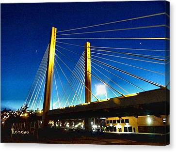 Tacoma W A Cable Stayed Bridge Canvas Print by Sadie Reneau