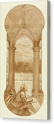 Taddeo Copying Raphaels Frescoes In The Loggia Of The Villa Canvas Print by Litz Collection