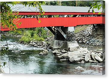 Historic Site Canvas Print - Taftsville Covered Bridge Vermont by Edward Fielding