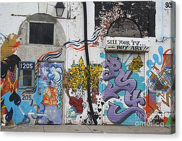 Tagging North Philly Canvas Print by Christopher Woods