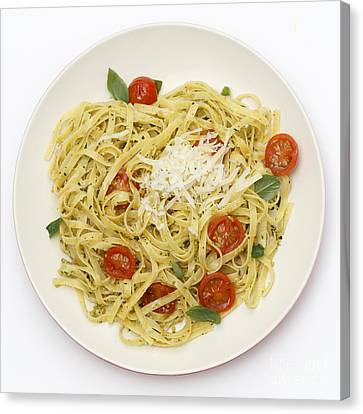 Tagliatelle With Pesto And Tomatoes From Above Canvas Print