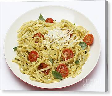 Tagliatelle With Pesto And Tomatoes Canvas Print