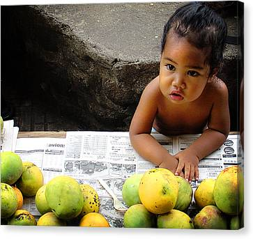 Tahitian Baby In Market Canvas Print