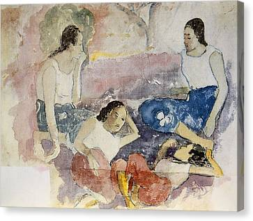 Conversing Canvas Print - Tahitian Women, From Noa Noa, Voyage by Paul Gauguin