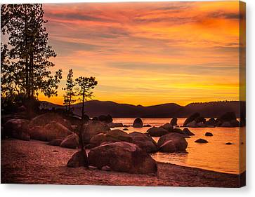 Canvas Print featuring the photograph Tahoe Golden Sunset by Steven Bateson