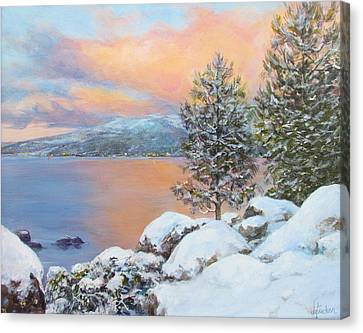 Tahoe Winter Colors Canvas Print by Donna Tucker