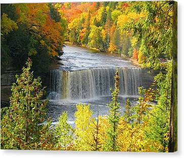 Tahquamenon Falls In October Canvas Print by Keith Stokes