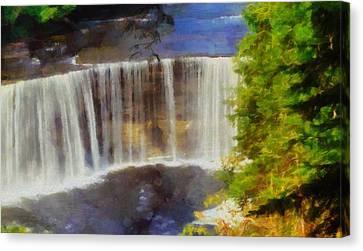 Tahquamenon Falls Painting Canvas Print by Dan Sproul