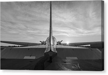 Murray Kentucky Canvas Print - Tail End Of The Sunrise Black And White by Amber Kresge