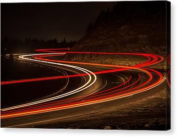 Tail Light Trails Canvas Print by Joe Hudspeth