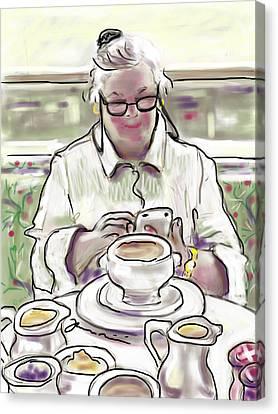 Canvas Print featuring the painting Taj Breakfast by Jean Pacheco Ravinski
