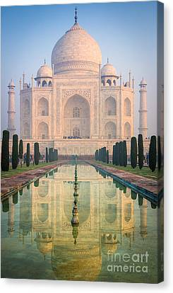 Taj Mahal Dawn Reflection Canvas Print by Inge Johnsson