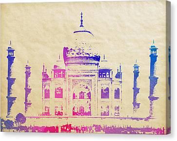 Taj Mahal Watercolor On Aged Parchment Canvas Print by Daniel Hagerman