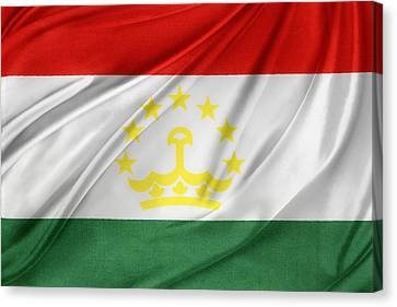 Tajikistan Flag Canvas Print by Les Cunliffe
