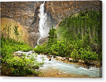 Takakkaw Falls Waterfall In Yoho National Park Canada Canvas Print by Elena Elisseeva