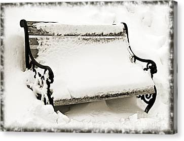Take A Seat  And Chill Out - Park Bench - Winter - Snow Storm Bw 2 Canvas Print by Andee Design