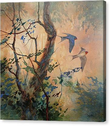 Swallow Canvas Print - Take Flight - Barn Swallows by Floy Zittin