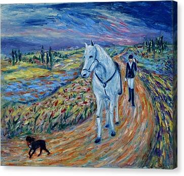 Canvas Print featuring the painting Take Me Home My Friend by Xueling Zou