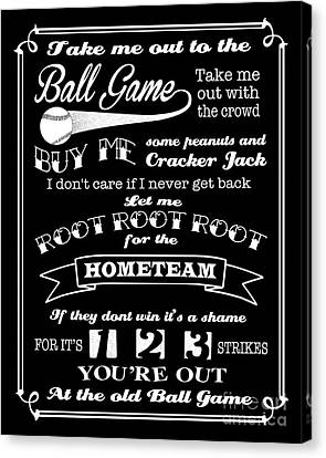 Take Me Out To The Ball Game - Black Background Canvas Print by Ginny Gaura