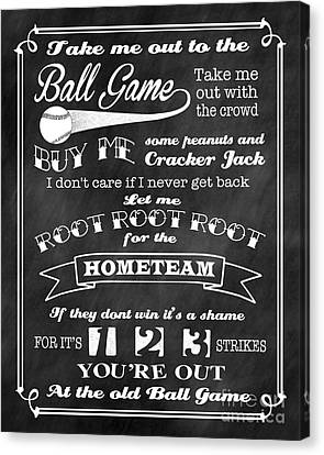 Take Me Out To The Ball Game - Chalkboard Background Canvas Print by Ginny Gaura