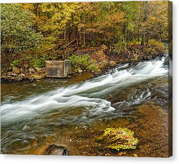 Take Me To The Other Side Beaver's Bend Broken Bow Lake Flowing River Fall Foliage Canvas Print by Silvio Ligutti