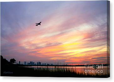 Take Off At Sunset In 1984 Canvas Print by Michelle Wiarda