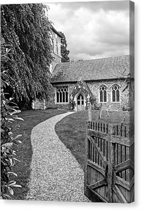 Take The Right Path - Church Black And White Canvas Print by Gill Billington