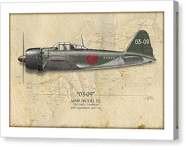 Takeo Tanimizu A6m Zero - Map Background Canvas Print by Craig Tinder