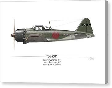 Takeo Tanimizu A6m Zero - White Background Canvas Print by Craig Tinder