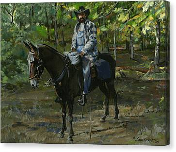 Trail Ride Canvas Print - Tennessee Man On Mule by Don  Langeneckert