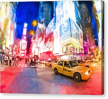 Taking A Taxi Through Times Square Canvas Print by Mark E Tisdale